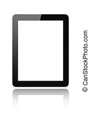 Black tablet pc isolated on white background with screen clipping path included