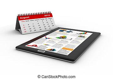 Black tablet pc on white background