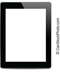 Black tablet pc on white