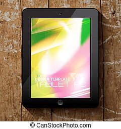 Black tablet PC with blurred background.