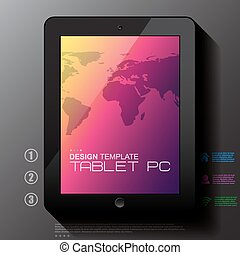 Black tablet PC with map.