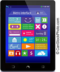 Black tablet PC with metro icons on display - Black glossy...