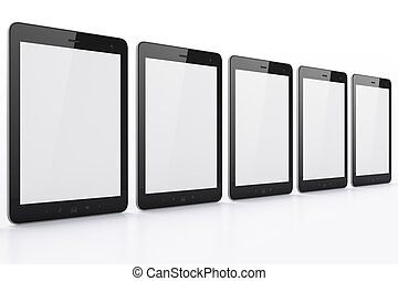 Black tablets on white background, 3d render. Just place...