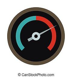 Black tachometer icon, flat style