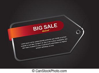 black tag over black background, big sale. vector...