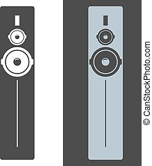 Black tall acoustic sound system or loudspeaker icon. Vector illustration.