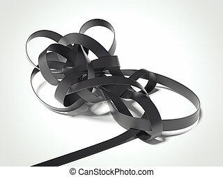 Black tangled ribbon. 3d rendering