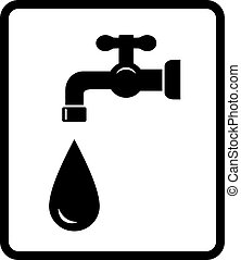 black tap and drop - black tap and big drop on white...