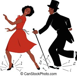 Black tap dance performers - African-American couple dressed...