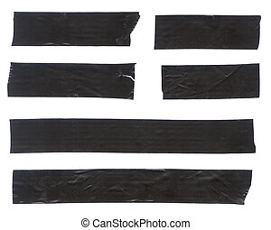 Black Tape - Strips of black electrical tape. Isolated on...