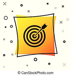 Black Target with arrow icon isolated on white background. Dart board sign. Archery board icon. Dartboard sign. Business goal concept. Yellow square button. Vector Illustration