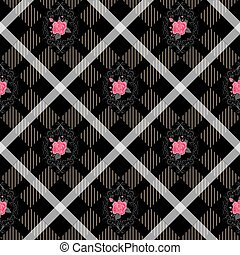 Black tartan plaid and flowers pattern on checkered background for textile
