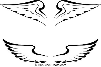 Black tattoo wings on a white background