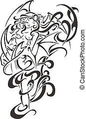 Black tattoo Woman vector