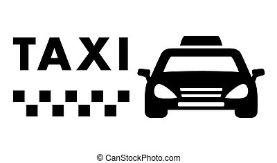 black taxi car on white background
