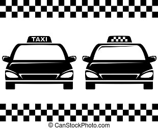 black taxi cars - black taxi car silhouettes on white...