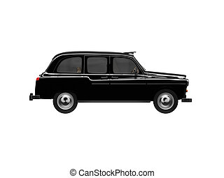 Black taxi isolated over white - isolated black taxi on ...