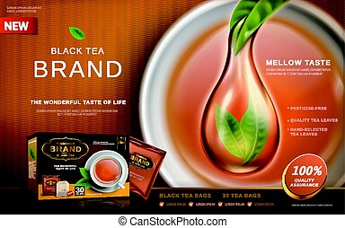 black tea ad with pure tea special effect, tea cup...