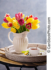 Black tea and a beautiful bouquet