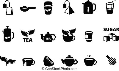 Black tea icon. Hot tea with lemon biscuit bubble drinks beverage in cup england food vector collection