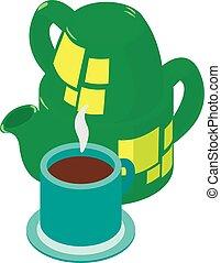 Black tea icon, isometric style