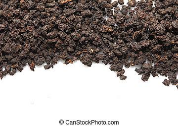 black tea on a white background. macro