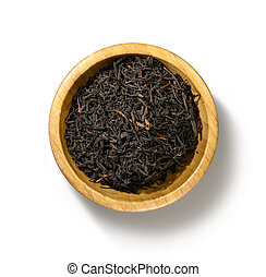 Black tea top view on white background
