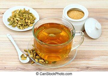 Black tea with flavor of green cardamom seeds