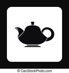 Black teapot icon, simple style
