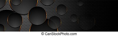 Black tech circles with orange glowing neon light on perforated background