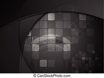 Black tech wavy abstract background