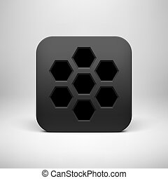 Black abstract technology app icon, button template with polygon perforated pattern, realistic shadow and light background for user interfaces, UI, applications, apps and presentations. Vector.