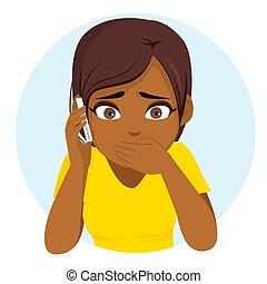 Black Teenager Girl Surprised Phone