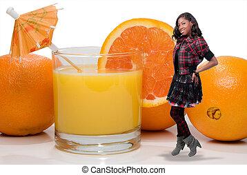 Black Teenager with Orange Juice