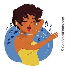 Black Teenager Woman Listening Music