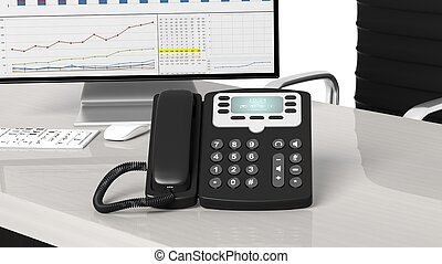 Black telephone closeup on office desk