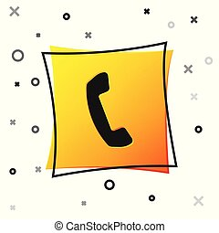 Black Telephone handset icon isolated on white background. Phone sign. Yellow square button. Vector Illustration