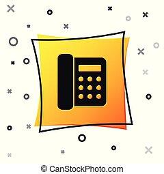 Black Telephone icon isolated on white background. Landline phone. Yellow square button. Vector Illustration