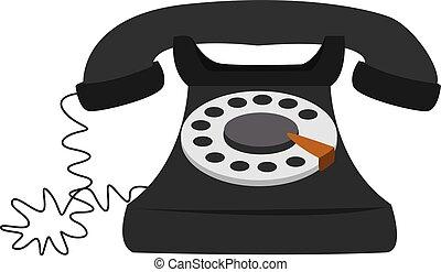 Black telephone, illustration, vector on white background.