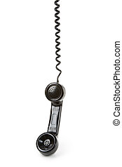 Black telephone Receiver with white background