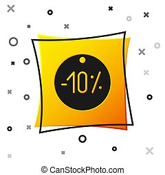Black Ten discount percent tag icon isolated on white background. Shopping tag sign. Special offer sign. Discount coupons symbol. Yellow square button. Vector Illustration
