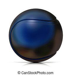 Black tennis ball, isolated