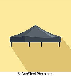 Black tent icon, flat style