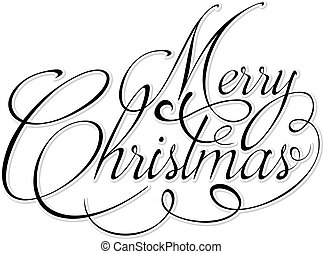 Black text Marry Christmas on white background.