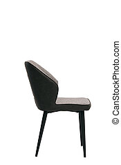 black textile chair isolated on white background. modern black stool side view. soft comfortable upholstered chair. interrior furniture element.