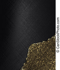 Black texture with golden angle. Template Design.