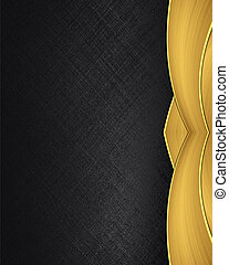 Black texture with golden ribbons. Design template