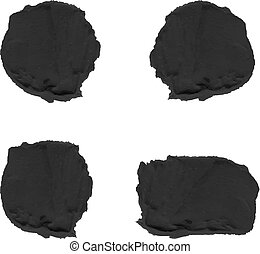 Black Textured Paint Spots Isolated on White Background VECTOR.