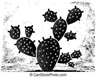black , textuur, ontwerp, papier, ouderwetse , vrijstaand, witte , illustratie, cactus, oud, achtergrond, silhouette.