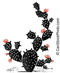 black , textuur, papier, bloemen, ouderwetse , rood, illustratie, cactus, oud, silhouette.